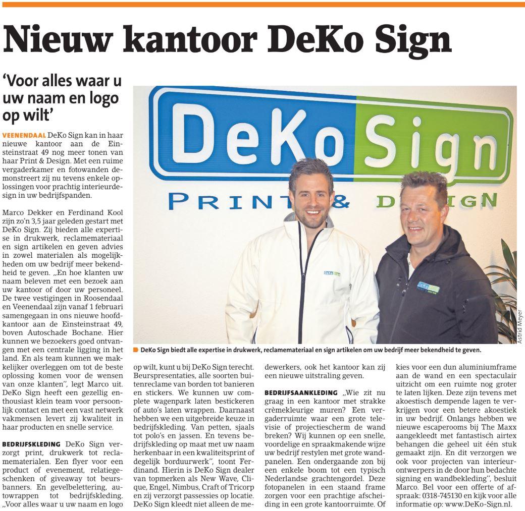 Deko-Sign in de krant